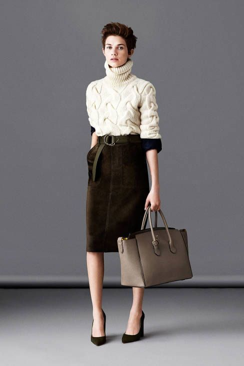 Women's Beige Knit Turtleneck, Dark Brown Velvet Pencil Skirt ...
