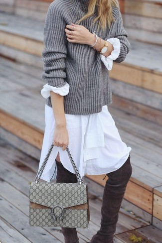 How to wear: grey knit turtleneck, white shirtdress, charcoal suede over the knee boots, beige canvas satchel bag