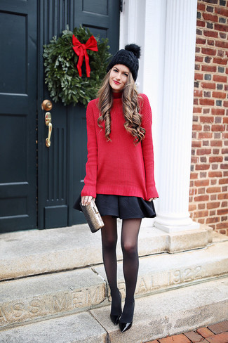 How to wear: red knit turtleneck, black skater skirt, black leather pumps, gold clutch