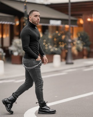 Black Leather Casual Boots Outfits For Men: This combination of a black turtleneck and charcoal ripped skinny jeans offers comfort and efficiency and helps keep it low-key yet trendy. For something more on the dressier side to finish off this outfit, add a pair of black leather casual boots to the mix.