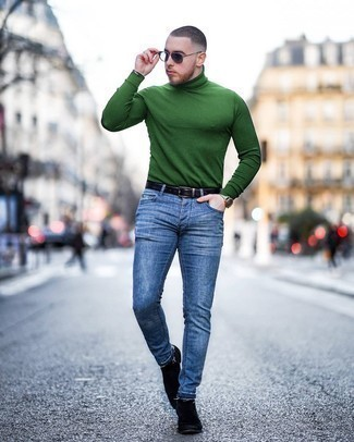 Men's Green Turtleneck, Blue Skinny Jeans, Black Suede Chelsea Boots, Black Leather Belt