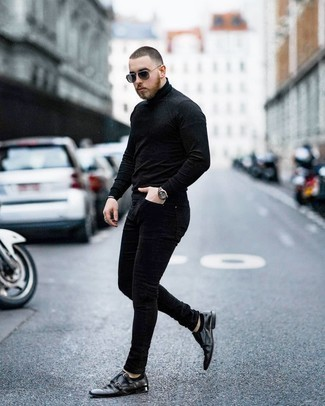 Black No Show Socks Outfits For Men: This bold casual pairing of a black turtleneck and black no show socks is extremely easy to pull together without a second thought, helping you look sharp and ready for anything without spending a ton of time going through your wardrobe. Avoid looking too casual by finishing with a pair of black leather double monks.