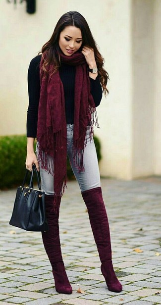6489a723f97ee How to Wear Burgundy Over The Knee Boots (38 looks   outfits ...