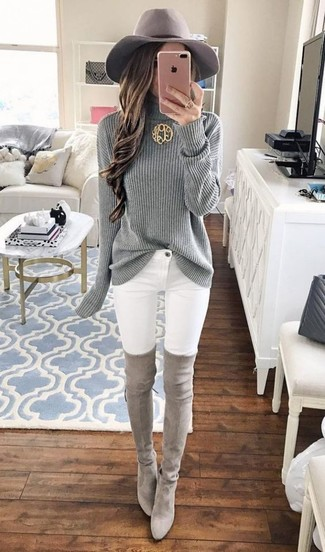 How to wear: grey knit turtleneck, white skinny jeans, grey suede over the knee boots, grey wool hat