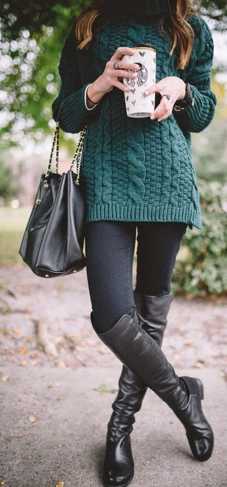 How to wear: dark green knit turtleneck, black skinny jeans, black leather over the knee boots, black leather bucket bag
