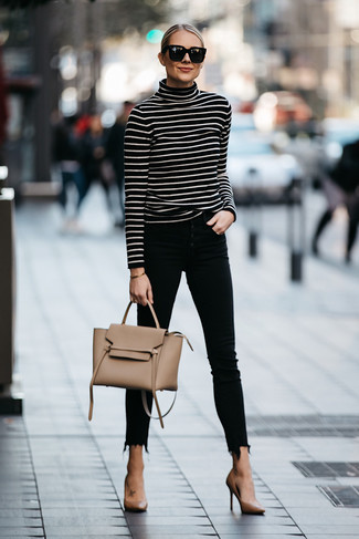 How to wear: black and white horizontal striped turtleneck, black skinny jeans, tan leather pumps, tan leather satchel bag