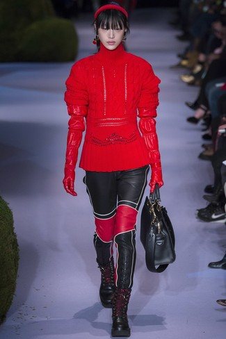 How to wear: red knit wool turtleneck, black leather skinny pants, black leather lace-up flat boots, black leather tote bag