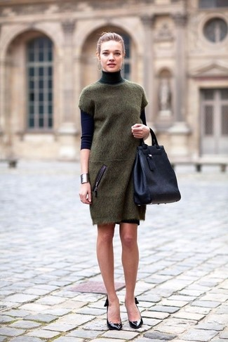 Women's Navy Turtleneck, Olive Sweater Dress, Black Leather Pumps, Navy Leather Tote Bag