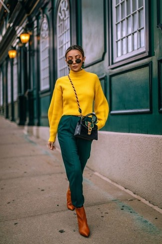 How to wear: yellow turtleneck, dark green tapered pants, tobacco leather ankle boots, black leather crossbody bag