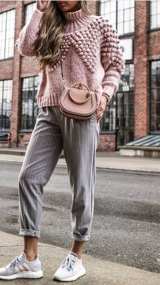 How to wear: pink knit turtleneck, grey vertical striped tapered pants, grey athletic shoes, pink leather crossbody bag