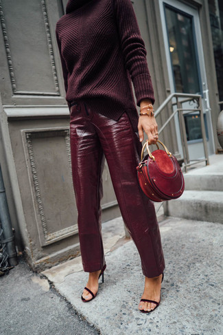 How to wear: burgundy knit turtleneck, burgundy leather tapered pants, burgundy suede heeled sandals, red leather clutch