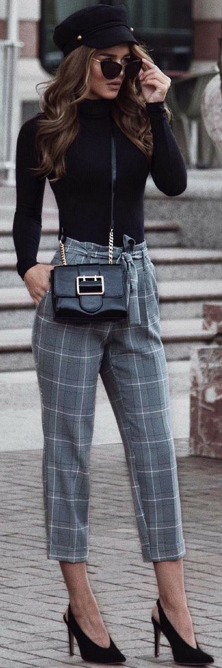 Wear a black turtleneck and grey check tapered pants and you'll look like a total babe. Consider black suede pumps as the glue that will bring your outfit together. So as you can see, it's very easy to look amazing and stay toasty come fall, thanks to this outfit.