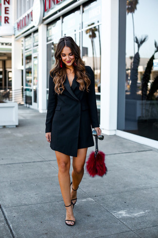 How to wear: black tuxedo dress, black leather heeled sandals, red fur clutch, black sunglasses