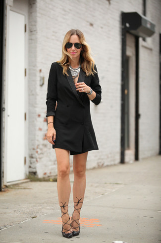 How to wear: black tuxedo dress, black leather pumps, black sunglasses, silver necklace