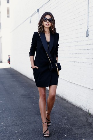 How to wear: black tuxedo dress, black tank, black suede heeled sandals, black suede crossbody bag