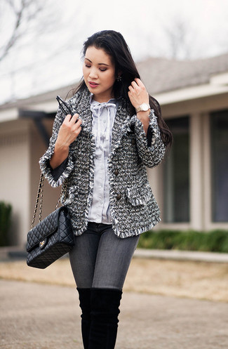 How to wear: grey tweed jacket, light blue button down blouse, grey skinny jeans, black suede over the knee boots
