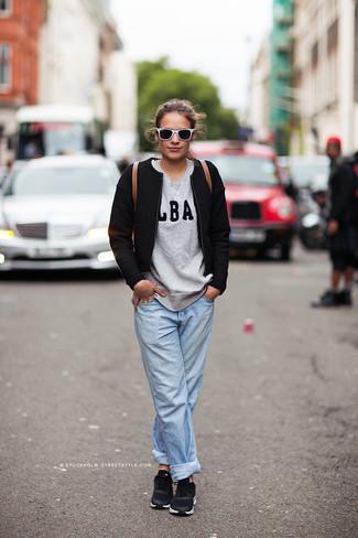 Women's Black Tweed Jacket, Grey Print Crew-neck Sweater, Light Blue Boyfriend Jeans, Black Low Top Sneakers
