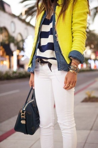 Women's Yellow Tweed Jacket, Navy and White Horizontal Striped Crew-neck Sweater, Blue Denim Shirt, White Skinny Jeans