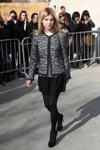 How to wear: black and white tweed jacket, grey crew-neck sweater, black skater skirt, black suede pumps