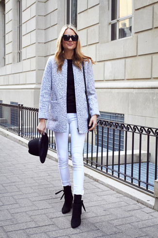 How to wear: grey tweed jacket, black crew-neck sweater, white skinny jeans, black suede ankle boots