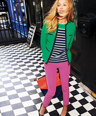 Women's Green Tweed Jacket, Navy and White Horizontal Striped Crew-neck Sweater, Hot Pink Skinny Pants, Black Studded Leather Pumps
