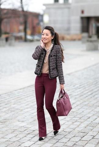 How to wear: dark purple tweed jacket, tan crew-neck t-shirt, burgundy flare pants, black suede pumps