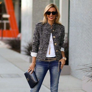 How to wear: grey tweed jacket, white crew-neck t-shirt, navy ripped jeans, black leather clutch