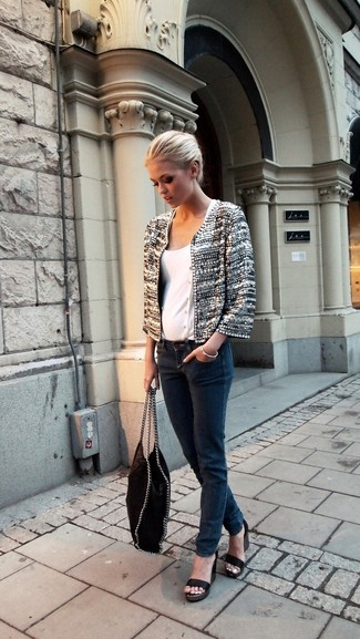 Women's Grey Tweed Jacket, White Crew-neck T-shirt, Charcoal Jeans, Black Leather Heeled Sandals