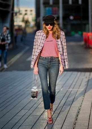 How to wear: white and red and navy tweed jacket, red horizontal striped crew-neck t-shirt, navy jeans, red leather heeled sandals