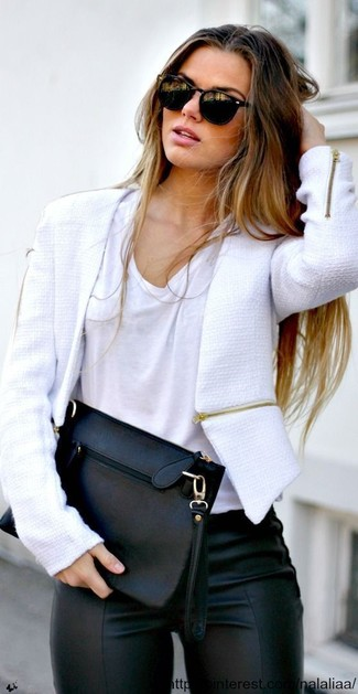 Women's White Tweed Jacket, White Crew-neck T-shirt, Black Leather Leggings, Black Leather Clutch