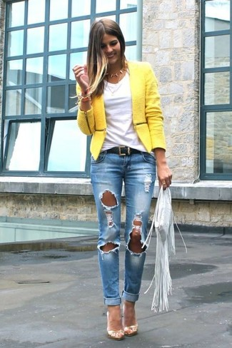 Women's Yellow Tweed Jacket, White Crew-neck T-shirt, Blue Ripped Skinny Jeans, Gold Leather Heeled Sandals