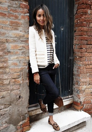 How to wear: white tweed jacket, white and black horizontal striped crew-neck t-shirt, black skinny jeans, tan leopard leather loafers