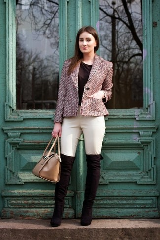 Go for a sophisticated look in a rose pink tweed jacket and beige trousers. Consider black suede over the knee boots as the glue that will bring your outfit together. Warmer temperatures call for cooler combos like this one.
