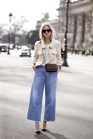 How to wear: white tweed jacket, white crew-neck t-shirt, blue denim wide leg pants, black and tan leather pumps