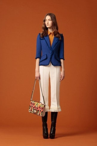 Women's Blue Tweed Jacket, Orange Dress Shirt, White Wool Culottes, Black Leather Knee High Boots