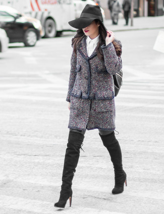 How to Wear a Blue Tweed Mini Skirt: Channel your inner fashionista and consider wearing a navy tweed jacket and a blue tweed mini skirt. Complement this look with a pair of black suede over the knee boots and you're all set looking amazing.