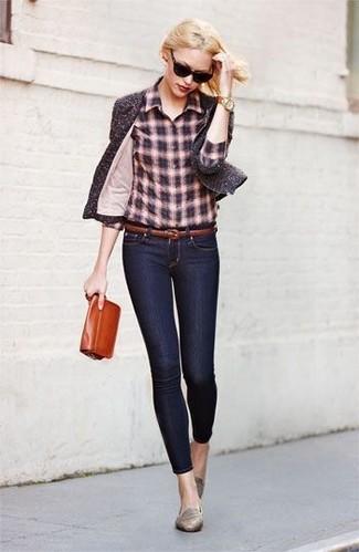 Women's Dark Brown Tweed Jacket, Brown Plaid Dress Shirt, Navy Skinny Jeans, Grey Suede Ballerina Shoes