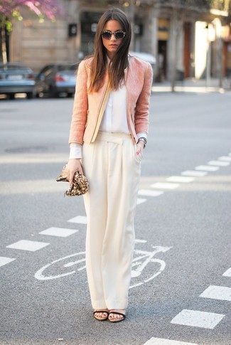 How to wear: pink tweed jacket, white silk dress shirt, beige wide leg pants, black leather heeled sandals