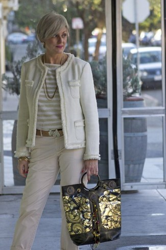 Women's White Tweed Jacket, White Horizontal Striped Long Sleeve T-shirt, Beige Chinos, Black and Gold Leather Tote Bag