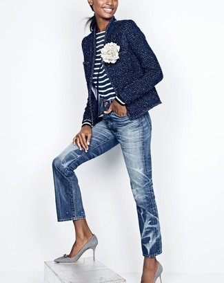 Women's Navy Tweed Jacket, Navy and White Horizontal Striped Long Sleeve T-shirt, Blue Jeans, Grey Canvas Pumps