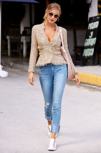 How to wear: tan tweed jacket, light blue ripped skinny jeans, white low top sneakers, pink leather tote bag