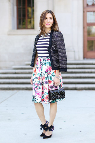 Women's Navy Tweed Jacket, White and Navy Horizontal Striped Sleeveless Top, White Floral Full Skirt, Black Suede Pumps