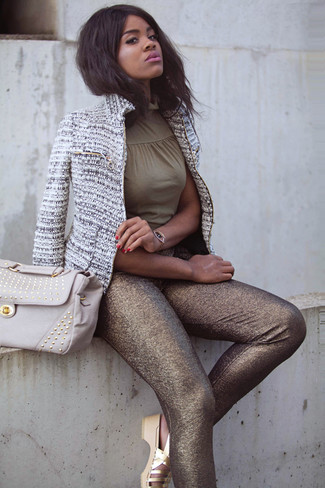 Women's Grey Tweed Jacket, Olive Sleeveless Top, Gold Leggings, Gold Leather Flat Sandals