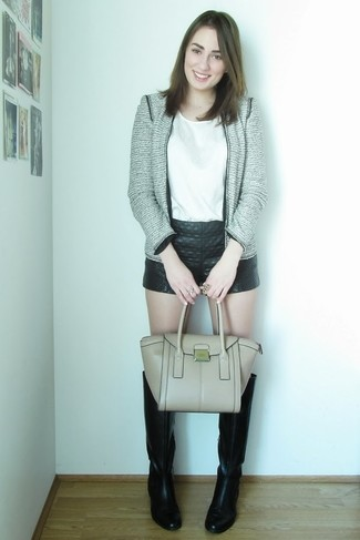 Women's Grey Tweed Jacket, White Sleeveless Top, Black Quilted Leather Shorts, Black Leather Knee High Boots