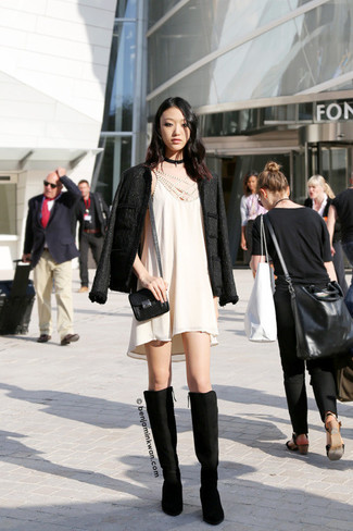 Women's Black Tweed Jacket, Beige Swing Dress, Black Suede Knee High Boots, Black Leather Crossbody Bag