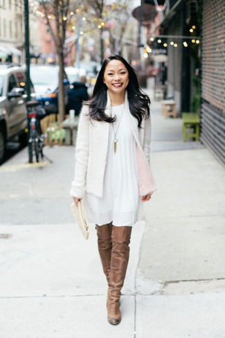 How to wear: white tweed jacket, white swing dress, brown suede over the knee boots, beige suede clutch