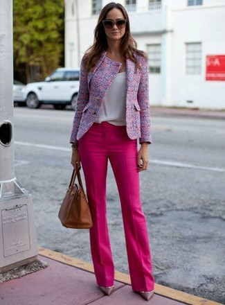 Women's Pink Tweed Jacket, White Tank, Hot Pink Dress Pants, Violet Leather Pumps