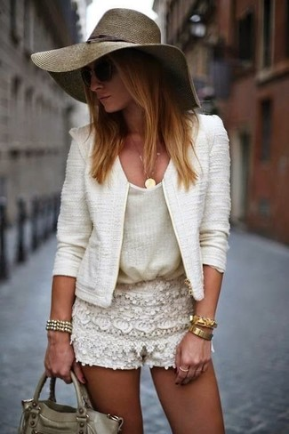 Women's White Tweed Jacket, White Tank, Beige Lace Shorts, Olive Leather Satchel Bag
