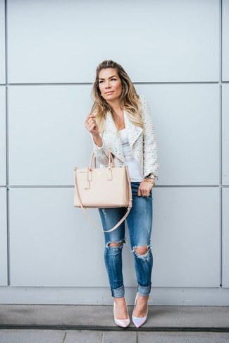 Women's White Tweed Jacket, White Tank, Blue Ripped Skinny Jeans, Silver Leather Pumps