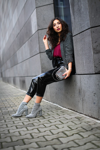 How to wear: charcoal tweed jacket, burgundy chiffon tank, black leather tapered pants, grey elastic ankle boots